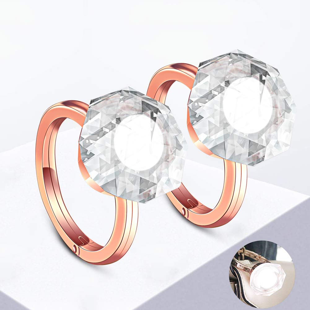 Light UpDiamond Ring HandbagPendants Accessories- LED BraceletRingStyle Toys Gift for Women Teen Girls Sister Bag Decoration Glow in The Dark Keychain Accessories(2 Pack)