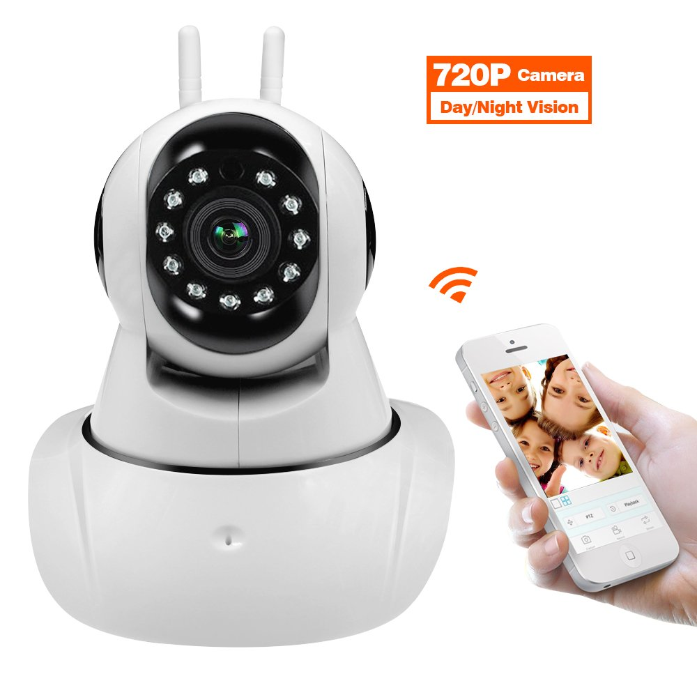 Amorvue 720p Wireless IP Security Camera, Baby Pet Video Monitor Home Security System with Pan and Tilt/Two Way Audio /Night Vision