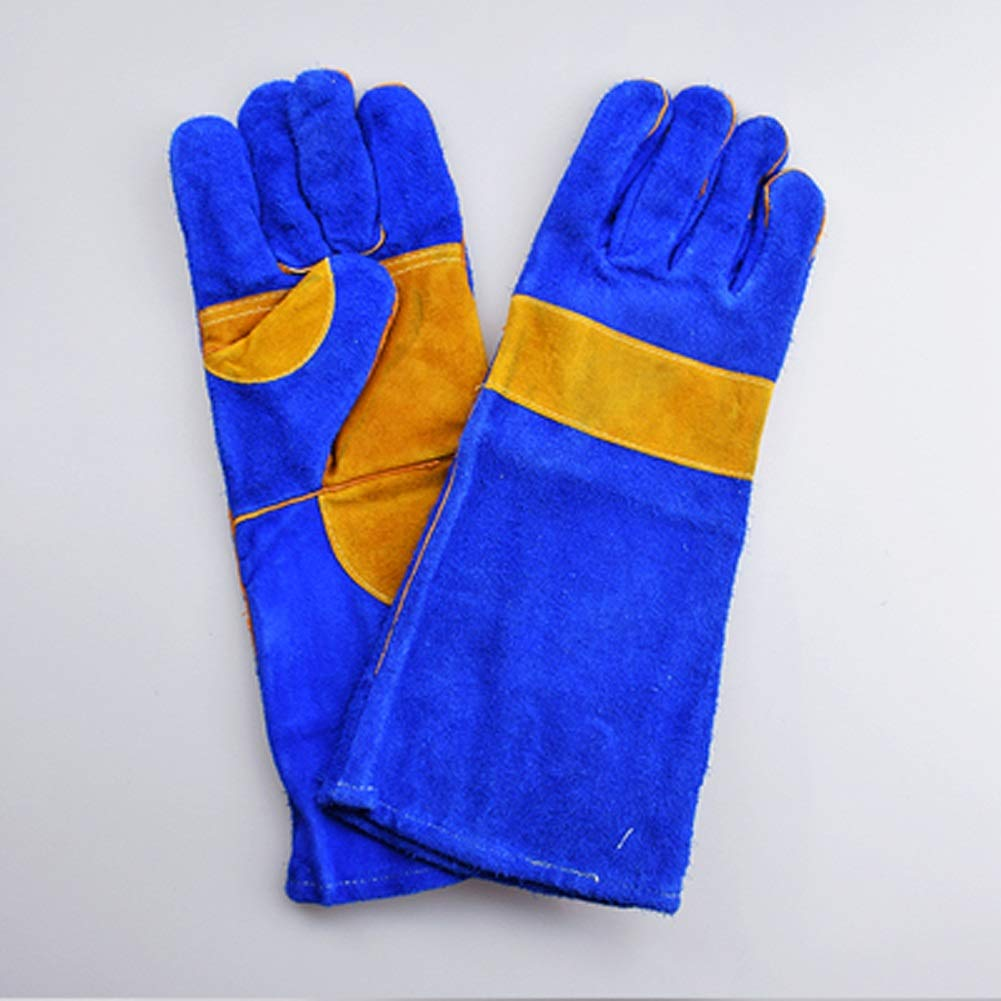 AINIYF Welding Gloves Heat/Fire Resistant Leather Forge BBQ Gloves Perfect For Fireplace, Stove, Oven, Grill, Mig, Pot Holder, Animal Handling With Long Sleeve (Size : B-40cm)