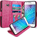J5 Case, LK [Kickstand Feature] Luxury PU Leather Wallet Case Flip Cover Built-in Card Slots & Stand for Samsung Galaxy J5 (2015) HOT PINK