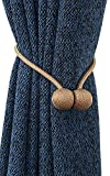 Yeexue Classic Strong Magnetic Curtain Rope Tiebacks Clips European Style (One Pair, Golden Coffee)
