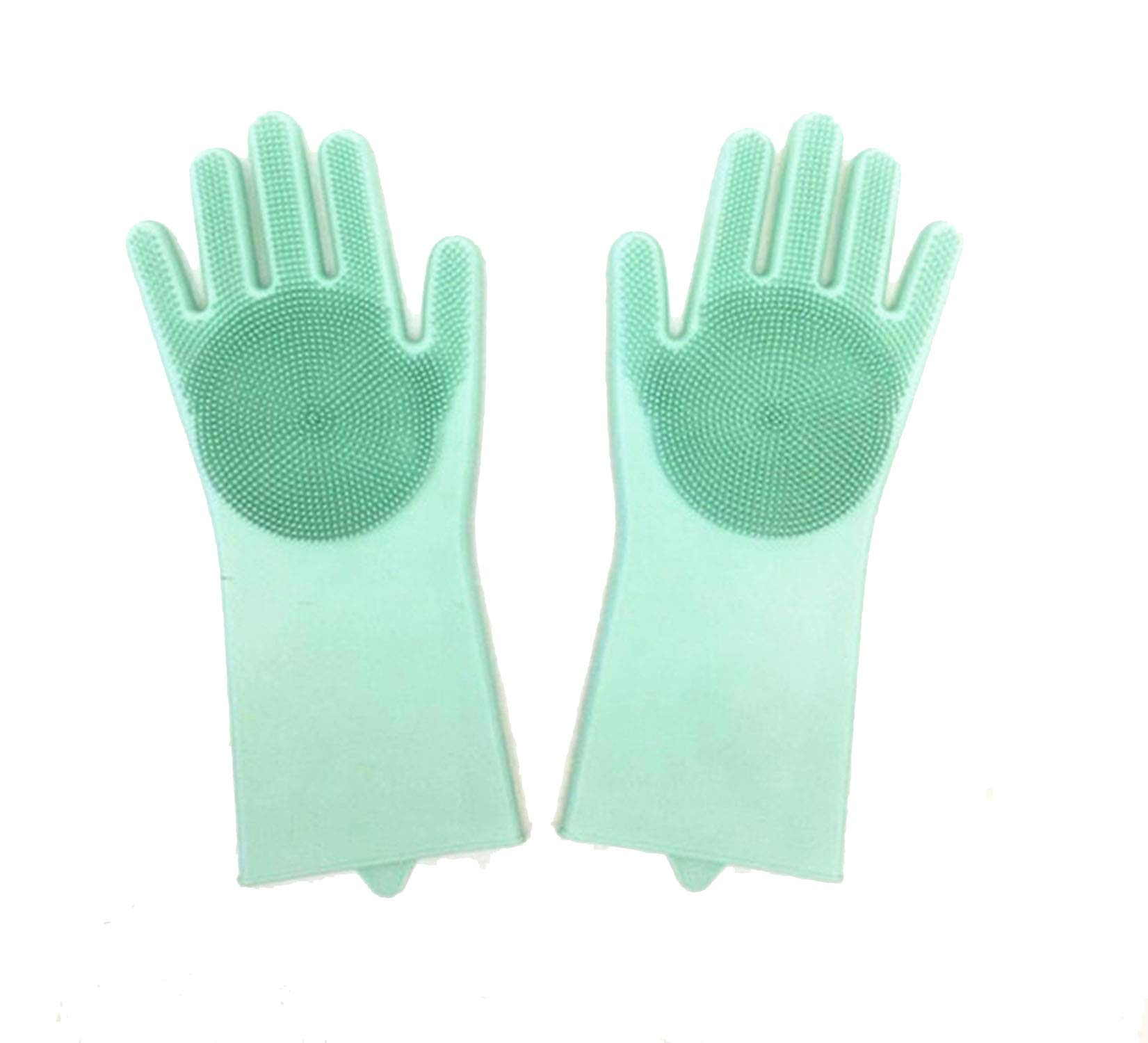 1 Pair Magic Silicone Rubbe Dish Washing Gloves Eco-Friendly Scrubber Cleaning for Multipurpose Kitchen Bed Bathroom Hair Care,Green,21 X 14.5CM