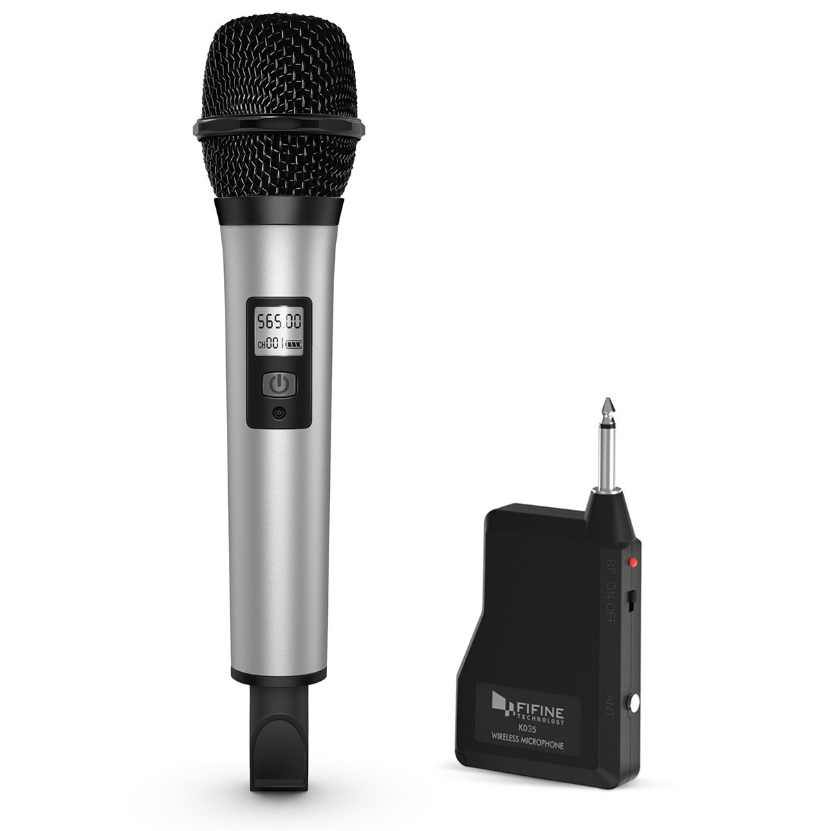 Fifine 20 Channel UHF Handheld Wireless Microphone For Church, Home Karaoke, Business Meetings. Easy To Set Up.(K035)