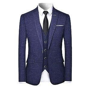 WEEN CHARM スーツ メンズ スリーピース 上下セット 2つボタン 一つボタン スリム 防シワ カジュアル スーツ ジャケット スラックス ベスト 3点 2点セット 着心地良い 礼服 結婚式 オールシーズン対応