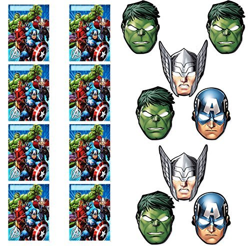 Marvel Avengers Assemble Party Favor Loot Bags and Masks Bundle (16 Pieces) by BirthdayExpress (Avengers Party Favours)