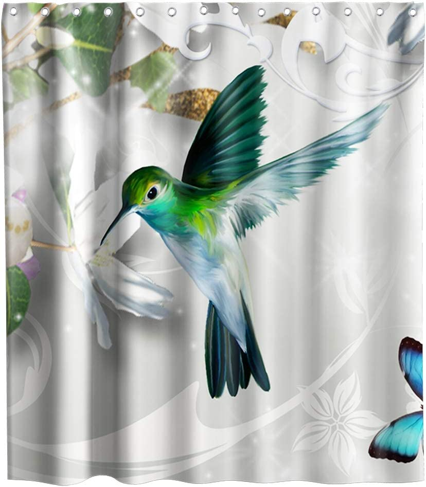 Green Bird Hummingbird Shower Curtain Blue Butterfly Cloth Fabric Kids Bathroom Decor Set with Hooks Waterproof Washable