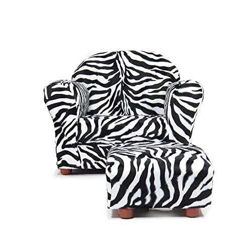 KEET Roundy Chair with Ottoman, Zebra. For children Ages 2 to 5