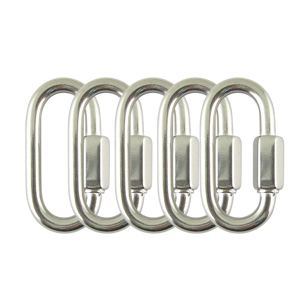 PROTEUS Stainless Steel Marine Grade D Shape Locking Carabiner Quick Link Chain Connector Keychain Buckle in Size 1/8 inch, Pack of 5 by PROTEUS