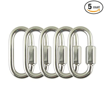 Proteus Stainless Steel Marine Grade D Shape Locking Carabiner Quick Link  Chain Connector Keychain 1/8