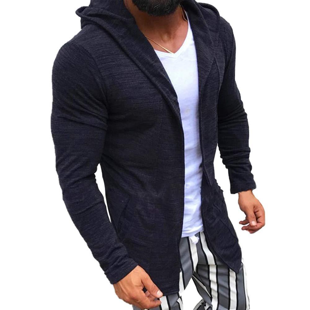 Maglioncino Lavorato a Maglia Casual Outfit per Autunno e Inverno Spesso Cardigan Lungo Aperto a Maniche Lunghe Caldo OEAK@ Giacca con Cappuccio in Maglia da Uomo