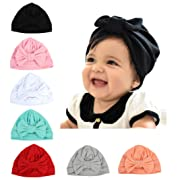 Baby Girl Hat with Rabbit Ears Bow Hat Toddlers Soft Turban Variety Knotted Hats Cap (Bow (7PCS))