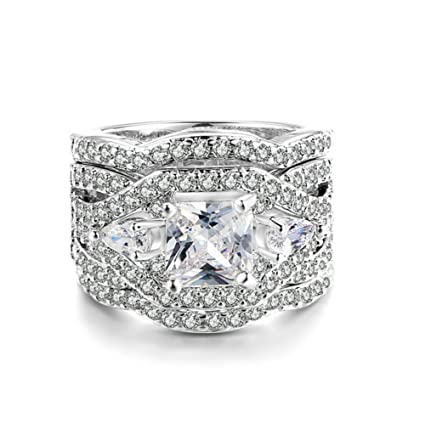 ORKST Square Zircon Platinum Plating Three Layers Anillo De Compromiso De Mujer Wedding Girl,9