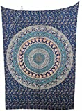 Amitus Exports(TM Premium Quality 1 X Camel Peacock 80''X53''(Approx.) Inches Peach Blue Color Cotton Fabric Tapestry Hippy Indian Mandala Throws (Handmade in India)