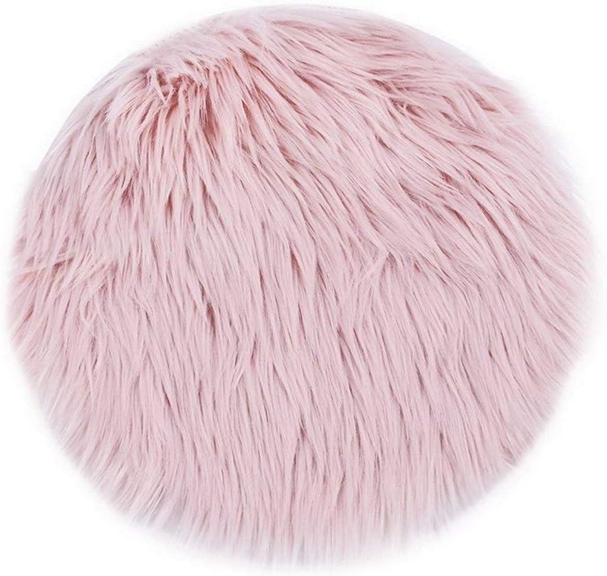 Color : White, Size : 30X30CM Doux Artificielle Fourrure Cheveux Salon Canap/é Tapis Peluche Tapis Chambre Matelas Matelas No/ël Porte Fen/être Ronde Tapis Tapis