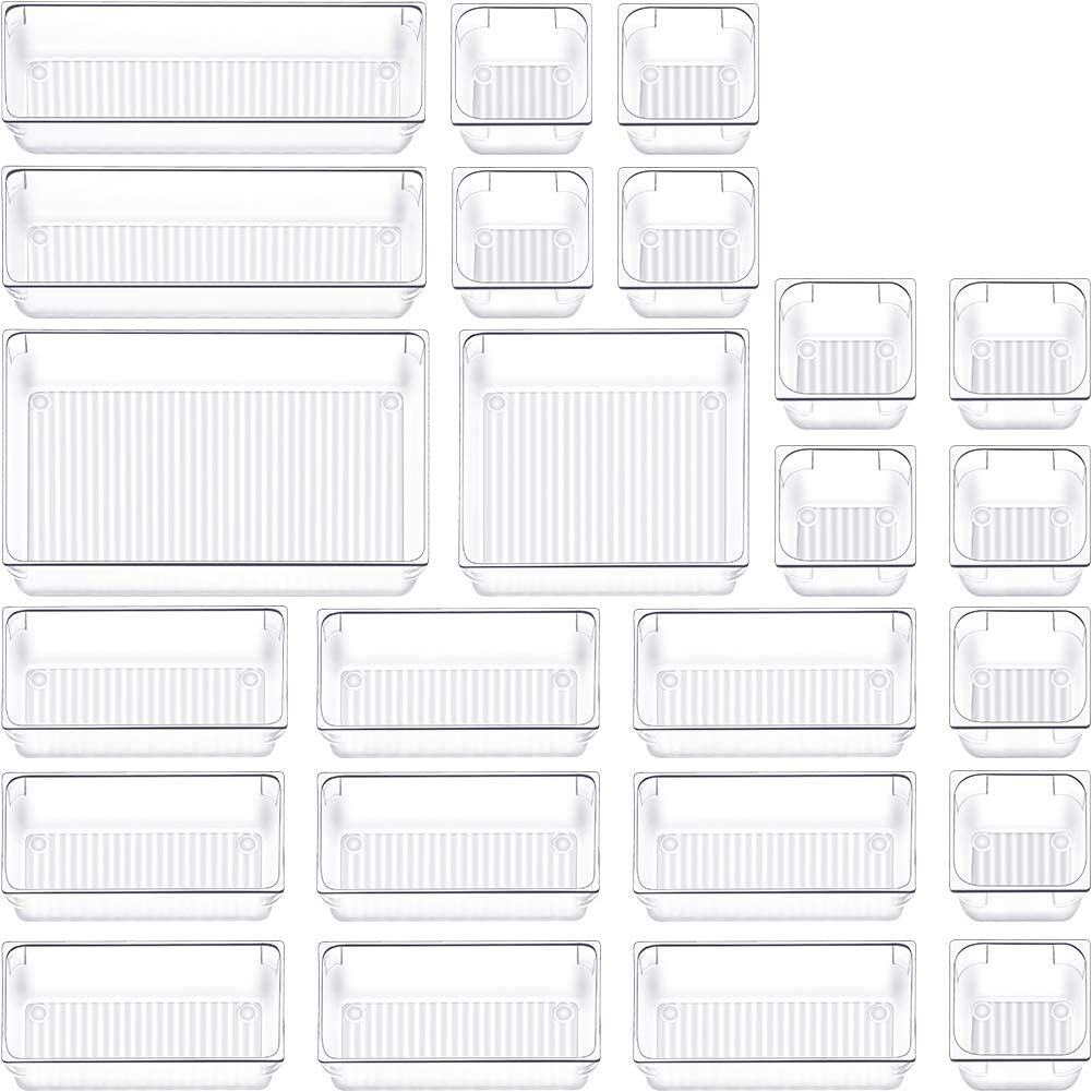 24 PCS Drawer Organizer Plastic Makeup Drawer Organizer 5 Size Silverware Drawer Organizer Versatile Kitchen Utensil Bathroom Office Storage Drawer Divider Bin Tray for Desk Dresser Vanity Cabinet