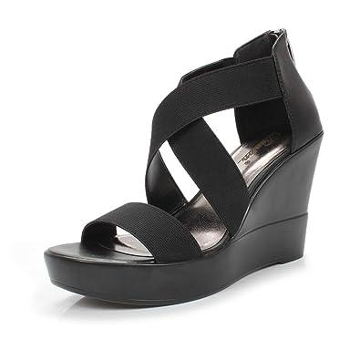 2b4f941b8e DUNION Women's AWE Zip Closure Crisscross Straps Platform Wedge Sandal  Wedding Party Dress Shoe,Black