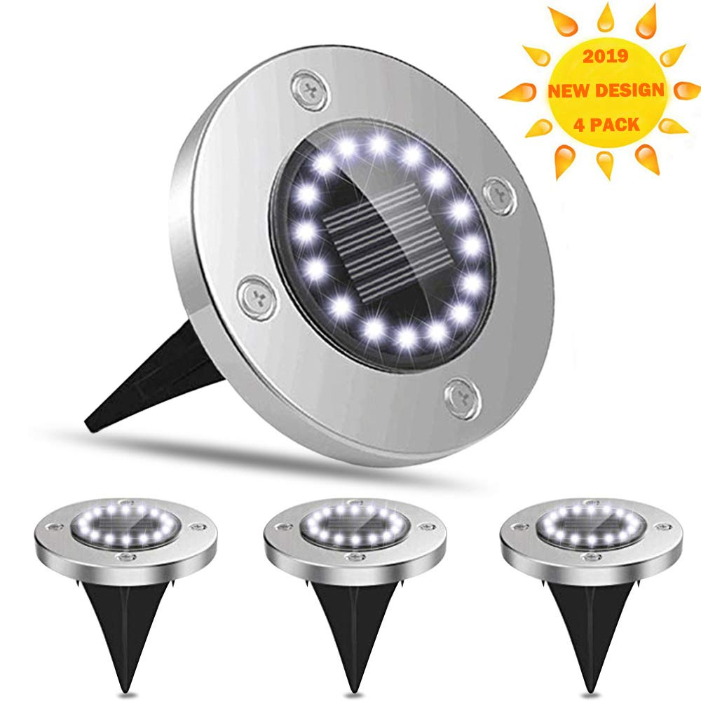 DTF Solar Outdoor Lights Powered, 16 LED Solar Disk Lights Solar Ground Lights Outdoor Waterproof for Yard, Lawn, Pathway, Garden, Driveway, Patio, Deck, (White with Glow Blue, 4 Pack)