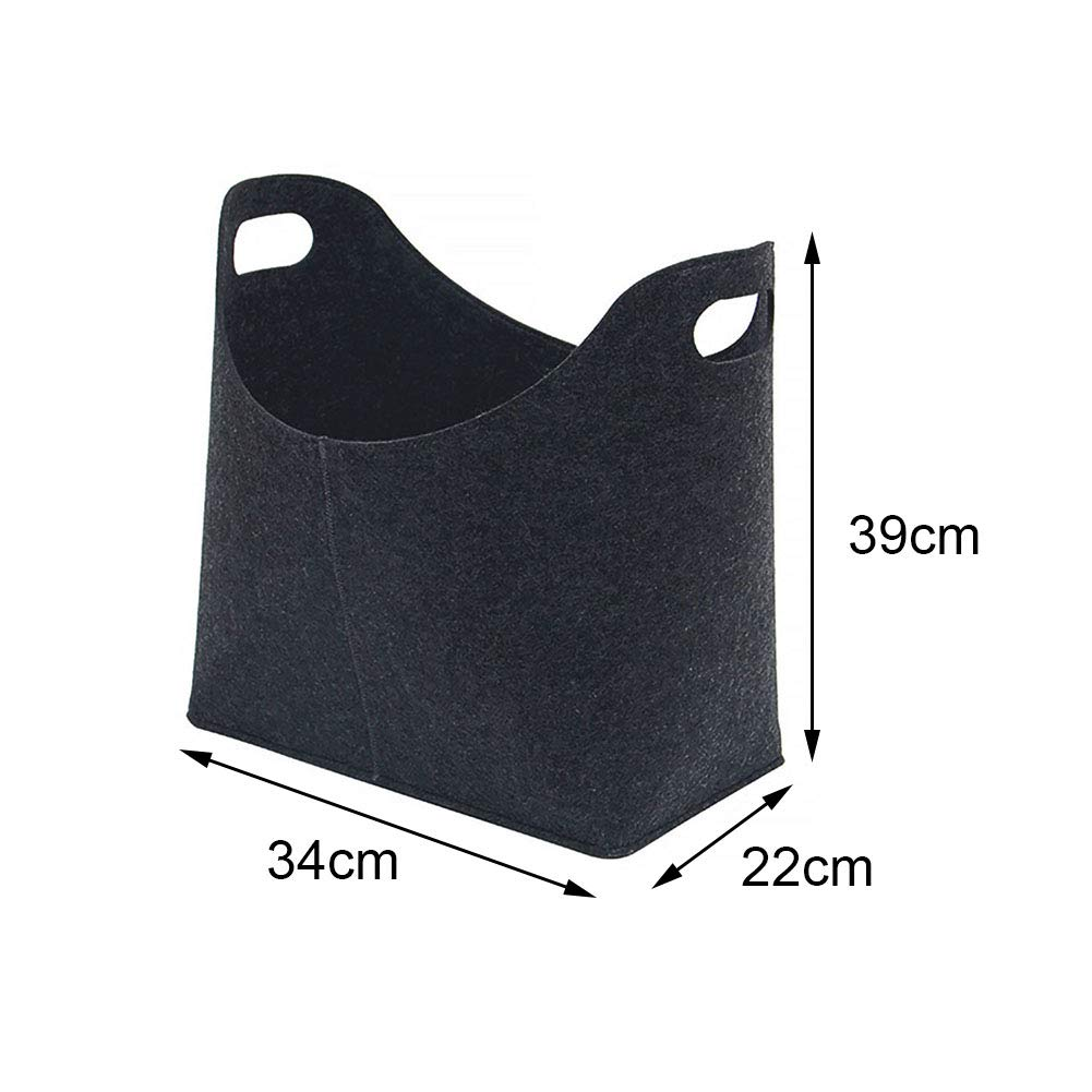 gris Cesta de fieltro plegable para le/ña bolsa de la compra bolsa de transporte de madera para chimenea bolsa port/átil para le/ña estante de almacenamiento para revistas de peri/ódicos