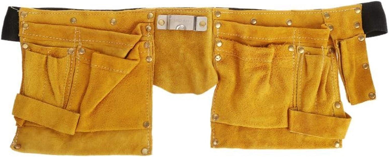 Cinturón Portaherramientas Herramienta de la cintura de la correa electricista bolsa de la herramienta de reparación del kit del destornillador del cuero del sostenedor (Color : Yellow+Black)