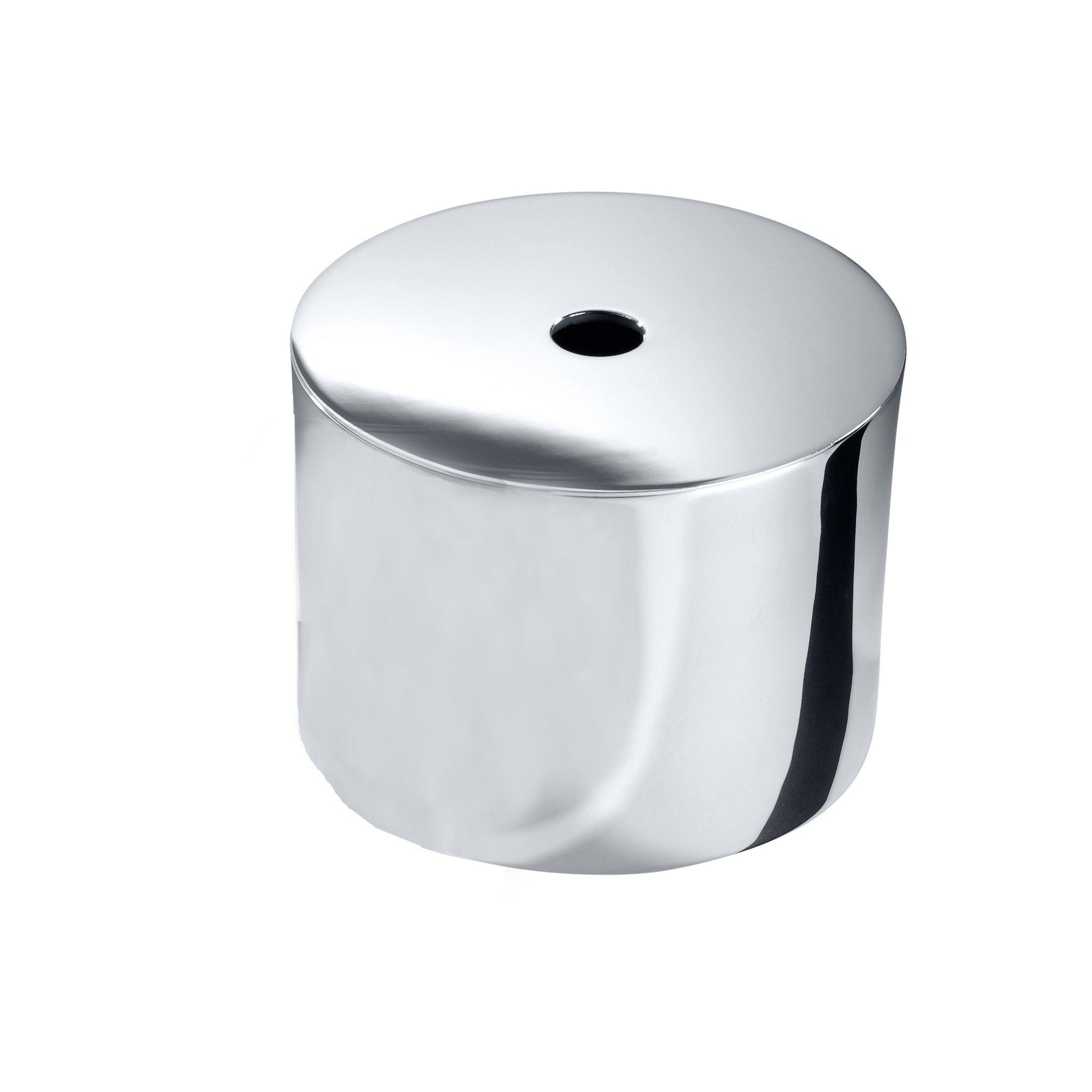 DWBA Round Brass Tissue Box Holder Cover Tray Dispenser Tissue Case for Bath (Polished Chrome)