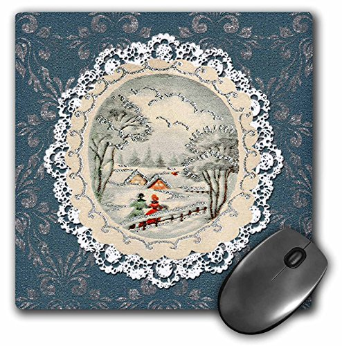 3dRose Beverly Turner Christmas Design - Couple in Snow Scene, Vintage Postcard Look with Lace, Blue - MousePad (mp_195860_1)