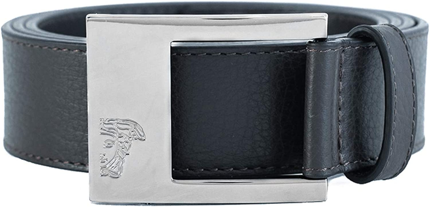 Versace Collection Mens Medusa Stainless Steel Buckle Pebble Leather Belt Brown