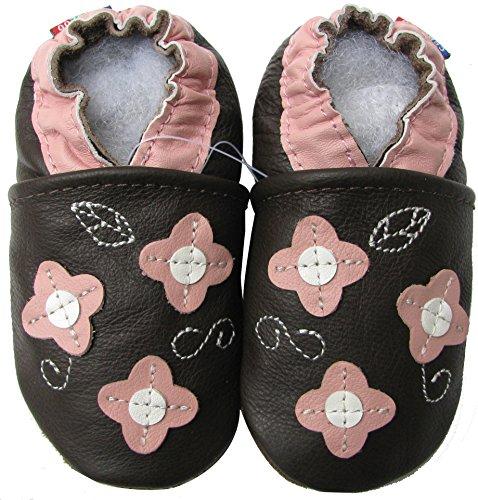 Carozoo Weiche Sohle Leder Babyschuhe Krabbelschuhe Lauflernschuhe Krippe Enfants Hausschuhe Neugeborene (0-6 Monate bis 7-8 Jahre) Jungen Mädchen rosa Blütenblatt braun