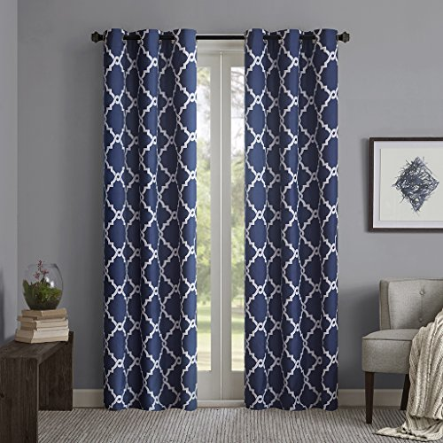 Indigo Curtains for Living Room, Modern Contemporary Room Darkening Curtains for Bedroom, Geometric Merritt Silver Grommet Window Curtains, 42x63, 2-Panel Pack