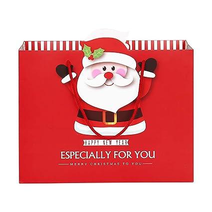 BIGBOBA 10 Bolsas de Regalo Navidad con Asas para Envolver Regalos Navideños S:14 * 7 * 15cm,M:20 * 10 * 20cm,L:30 * 11 * 24cm