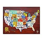 """Trademark Fine Art 'License Plate Map USA' Gallery Wrapped Canvas Art by Design Turnpike, 24"""" x 32"""" offers"""