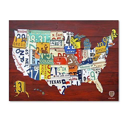 License Plate Map USA by Design Turnpike, 14x19-Inch Canvas Wall Art (Plate Map)