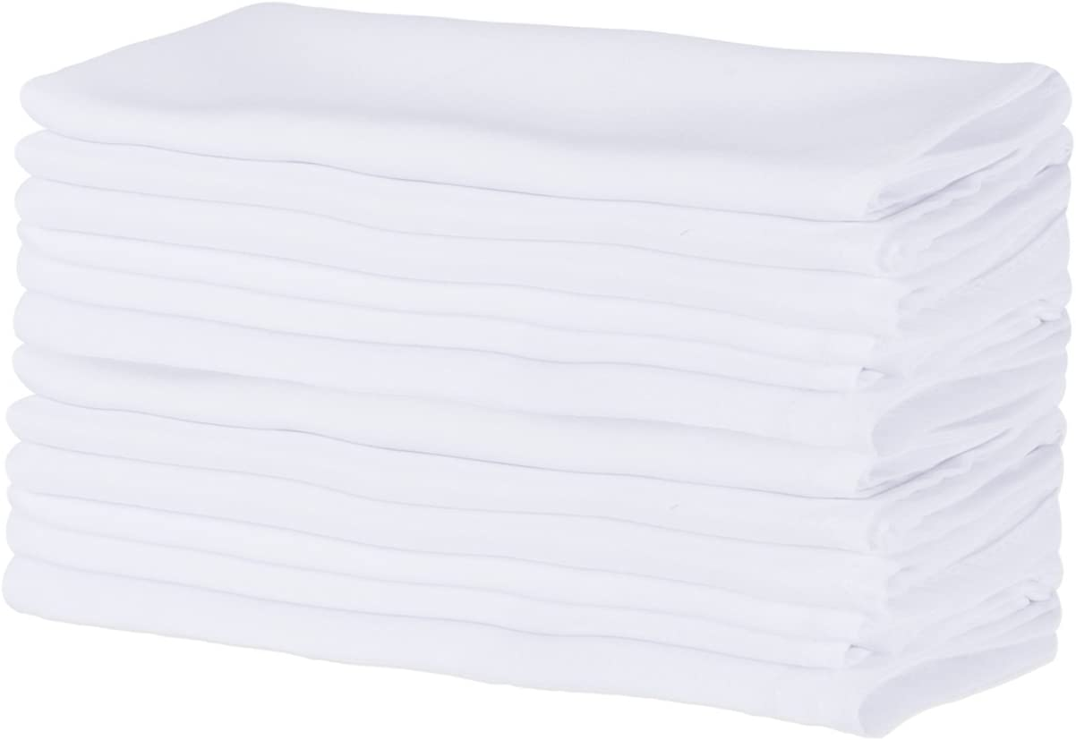 18x18-inch for Restaurant or Home Table White FBA43764 E-Living Store Polyester Commercial Quality Heavy Duty Cloth Napkins Bulk Set of 12