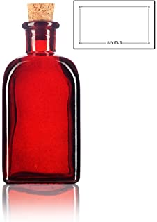 Red Spanish Thick Recycled Glass Bottle with Natural Cork Top - 8 oz / 250 ml