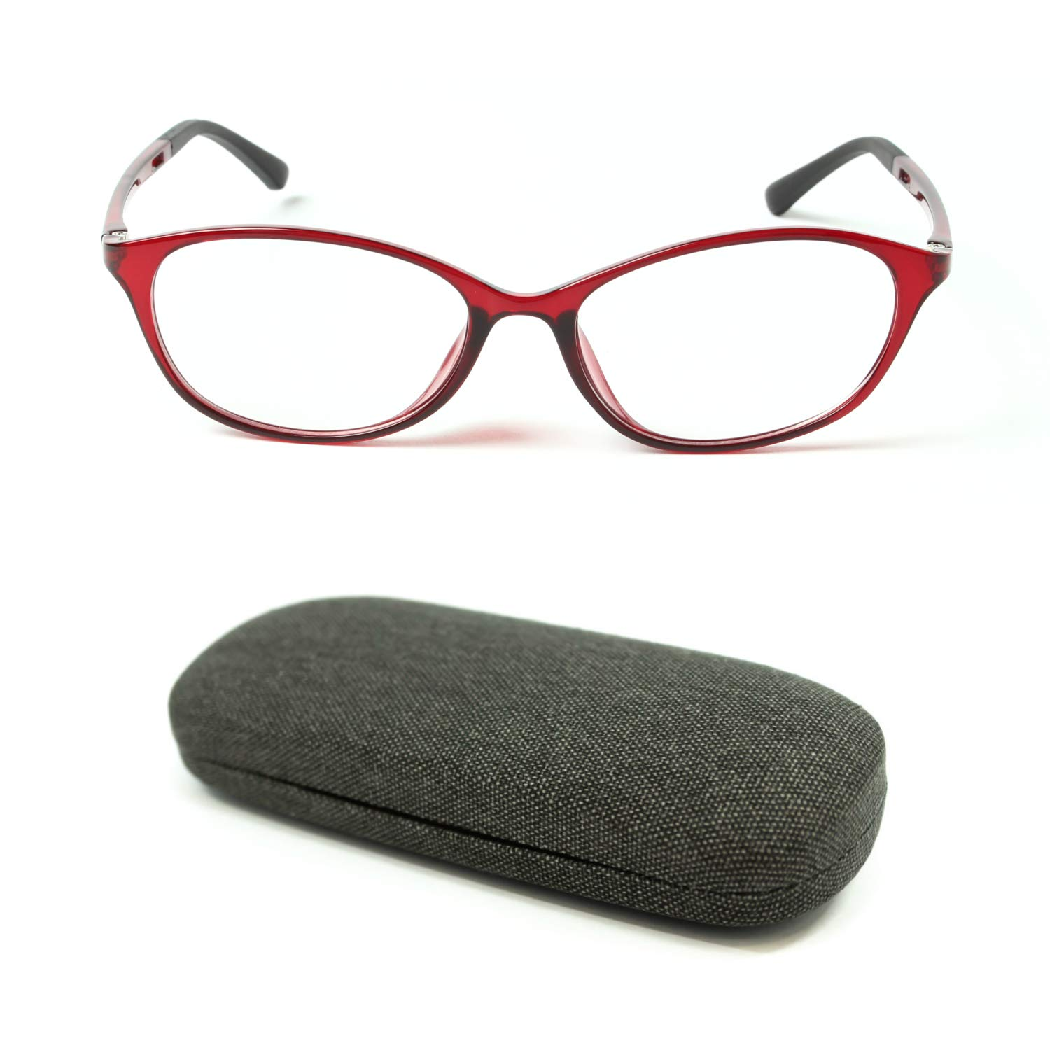 MIDI High Quality Blue Light Blocking Reading Glasses for Women (M-112) with a Hard Shell Eyeglass Case / TR90 Frame (Red,+1.00)(m112c2-100) by MIDI ミディ