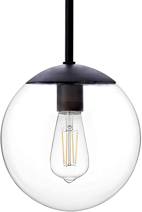 Amazon Com Motini Globe Pendant Light 1 Light Black Pendant Lighting With 8 Clear Glass Shade Single Hanging Light Fixture For Kitchen Island Dining Room Home Improvement