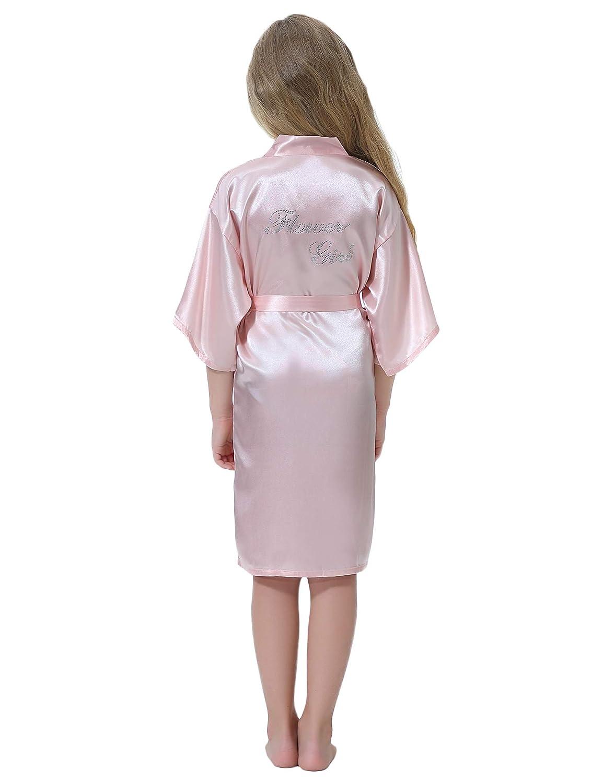 Aibrou M/ädchen Flower Girl Morgenmantel Satin Kimono mit Goldstickerei f/ür Hochzeit