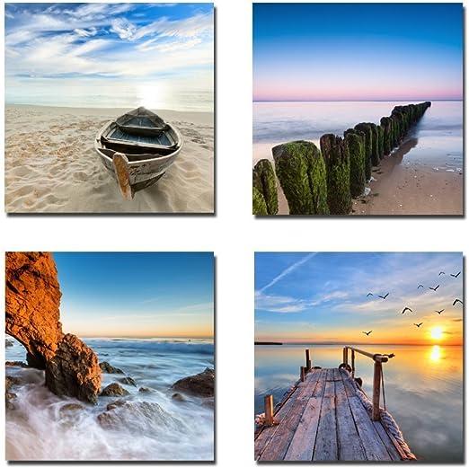 BATHROOM DESIGN SEA STARS COLLAGE SPA BOX CANVAS PRINT WALL ART PICTURE