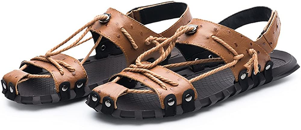 LLPSH Mens Genuine Leather Beach Slippers Casual Hemp Rope Non-Slip Soft Flat Sandals Shoes