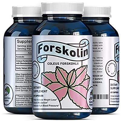 Natural Forskolin Weight Loss Supplement – Metabolism Fuel – for Men + Women – 250 mg Premium Fat Burner Capsules – Trim + Slim Appetite Suppressant – Pure Coleus Forskohlii Root Extract