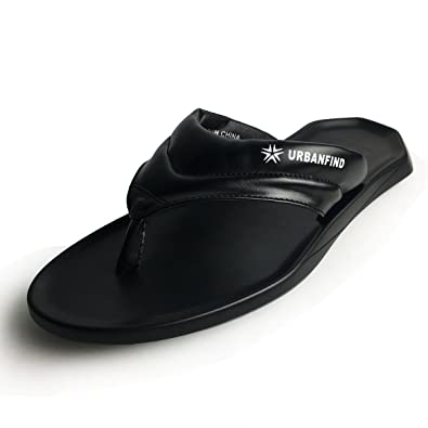 92e4203bc46a03 URBANFIND Men s Flip Flops Shoes Classic PU Leather Thong Sandals Black