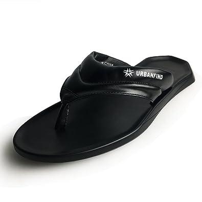 0fd0caffdd80e7 URBANFIND Men s Flip Flops Shoes Classic PU Leather Thong Sandals Black