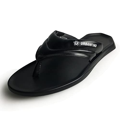45af111c43db7 URBANFIND Men s Flip Flops Shoes Classic PU Leather Thong Sandals Black