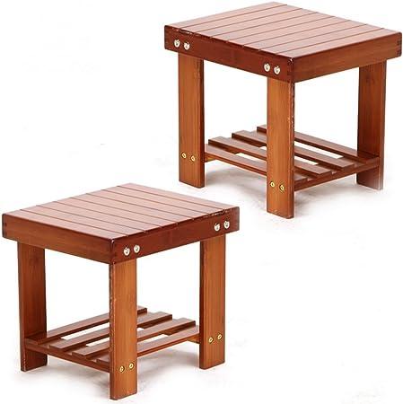 Taburete pequeño de madera simple Banco pequeño para niños Taburete cuadrado pequeño Escalera de estribo Bambú Banco de zapatos para adultos Banco Taburete bajo Silla pequeña (Set de 2): Amazon.es: Hogar