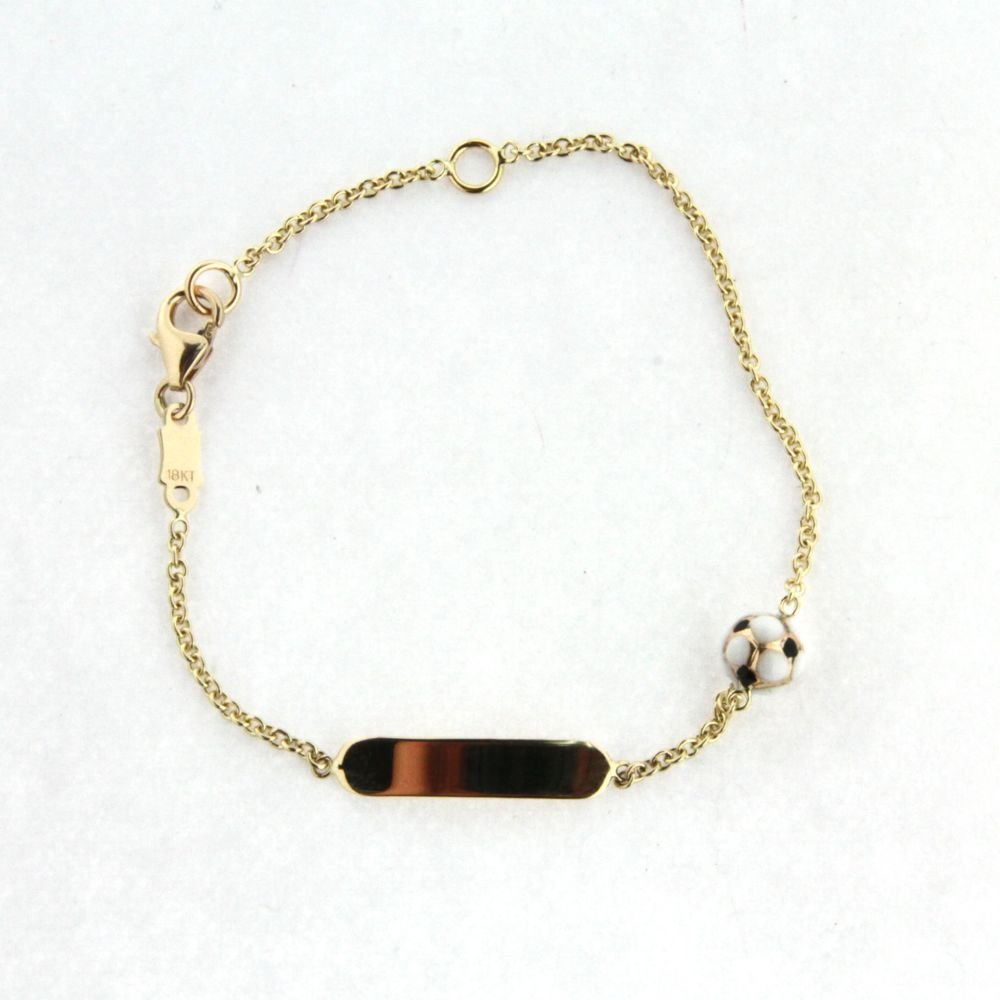 18K Yellow Gold Enamel Soccer Ball ID Bracelet 5.6 inches with extra Ring at 4.8 inch