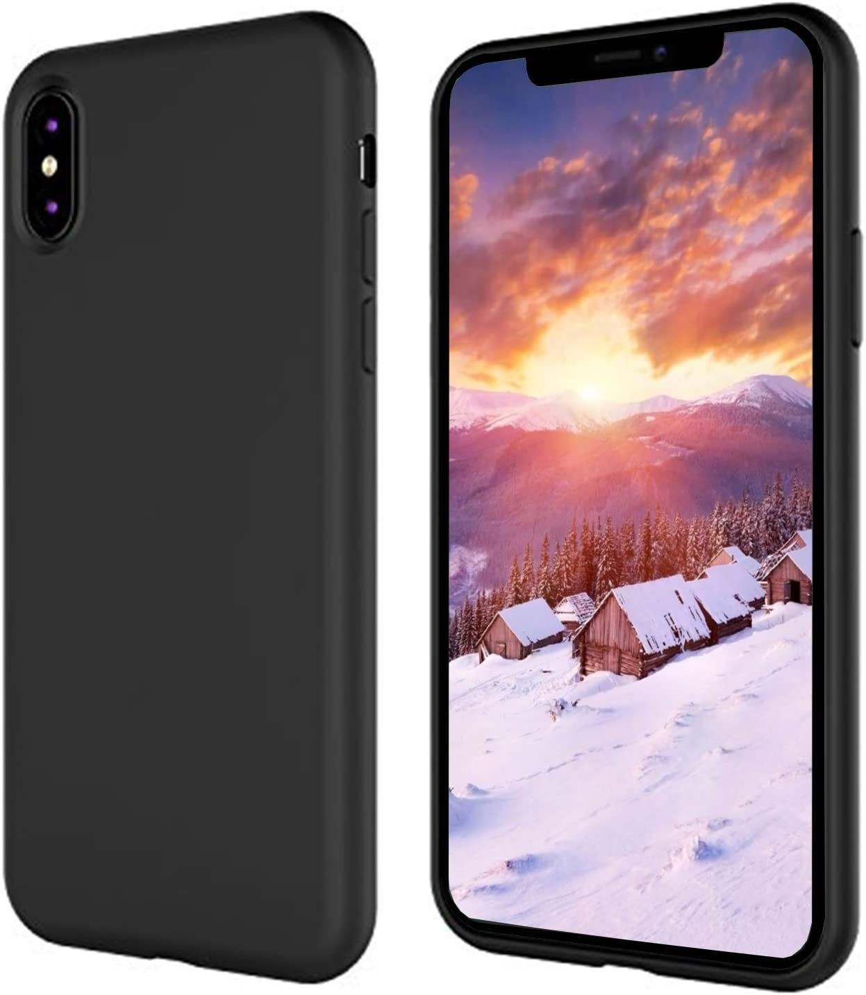 iPhone X Silicone Case, iPhone 10 Silicone Case, Full Body Drop Shockproof Protection Matte Case[Screen & Camera Protection] Gel Rubber Phone Case with Soft Cushion for Apple iPhone X 5.8 inch - Black