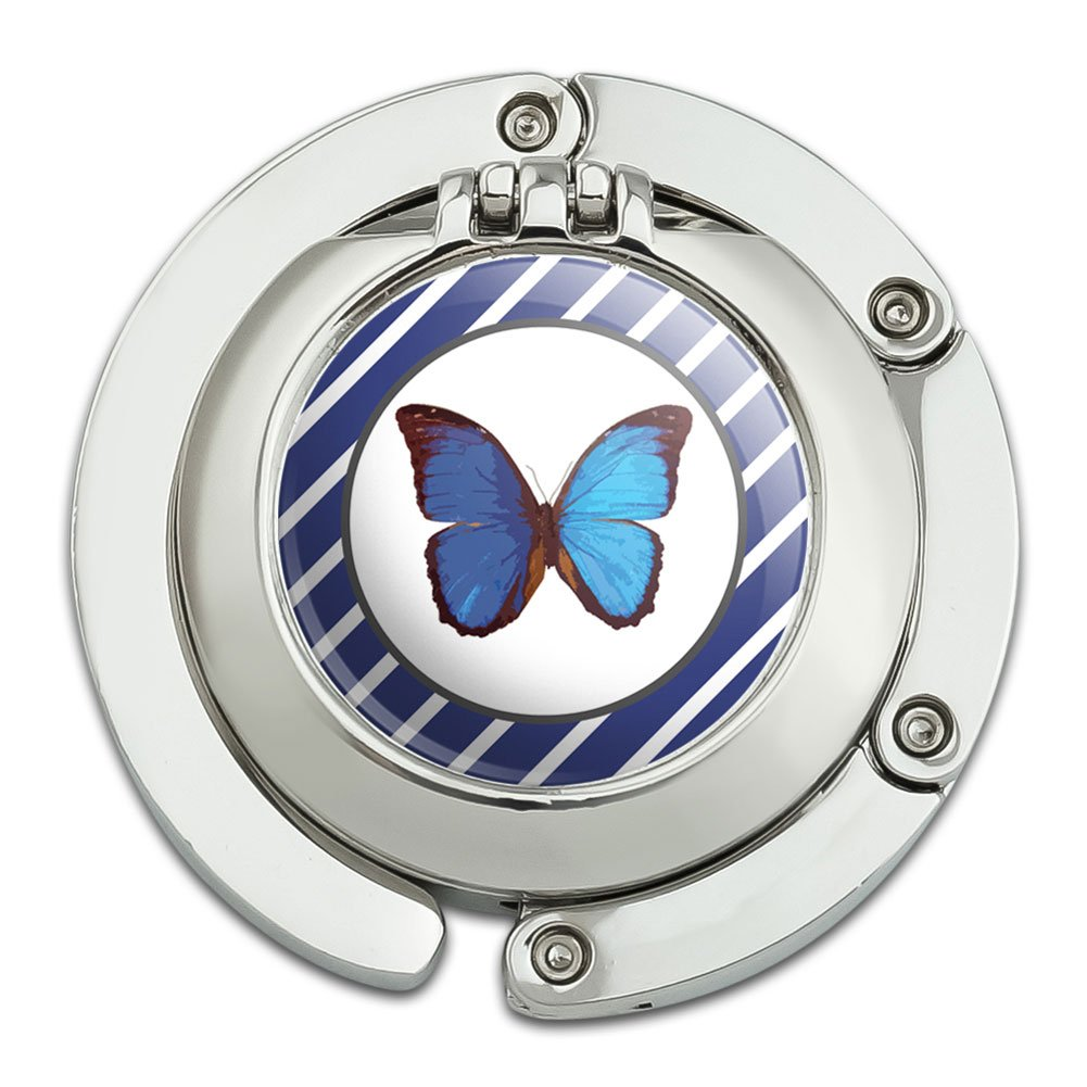 Butterfly Blue Foldable Table Bag Purse Caddy Handbag Hanger Holder Hook with Folding Compact Mirror