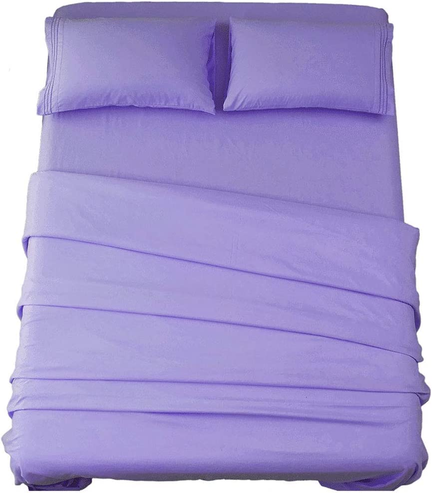 SONORO KATE Bed Sheet Set Super Soft Microfiber 1800 Thread Count Luxury Egyptian Sheets 16-Inch Deep Pocket,Wrinkle and Hypoallergenic-3 Piece (Lavender, Twin XL)