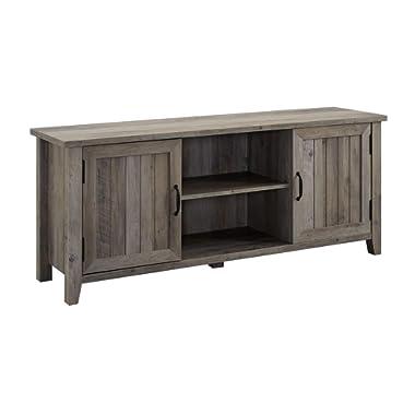 Walker Edison Furniture Company 58  Modern Farmhouse Grooved Door TV Stand - Grey Wash