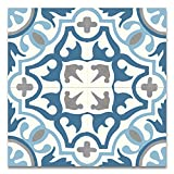 Moroccan Mosaic & Tile House CTP05-01 Baha 8''x8'' Handmade Cement Tile in Multicolor (Pack of 12), Blue WhiteGrayBlack