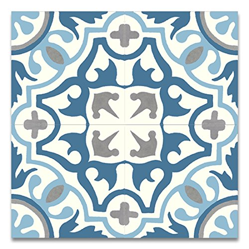 Moroccan Mosaic & Tile House CTP05-01 Baha 8''x8'' Handmade Cement Tile in Multicolor (Pack of 12), Blue (Handmade Tile)